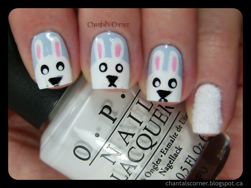 Easter Bunnies Nail Art - plus an appearance by my right hand ...