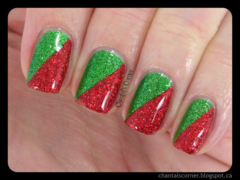 Red and Green Christmas Nails , with Tutorial! , Chantal\u0027s