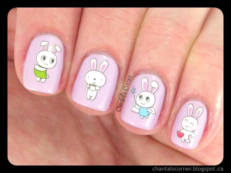 Easter Bunnies Nail Art with BornPrettyStore Water Decals