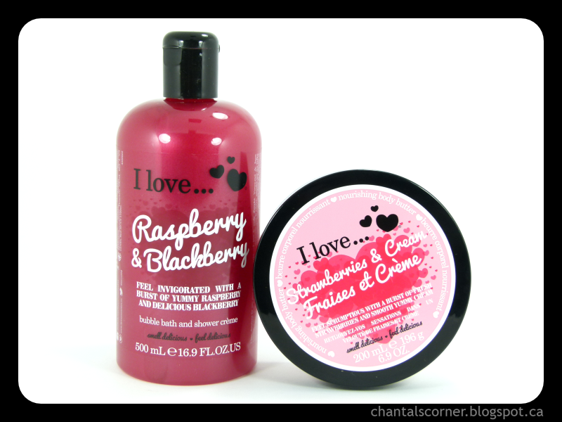 "I Love… ""Raspberry & Blackberry"" bubble bath and shower crème, and ""Strawberries & Cream"" body butter – Review"