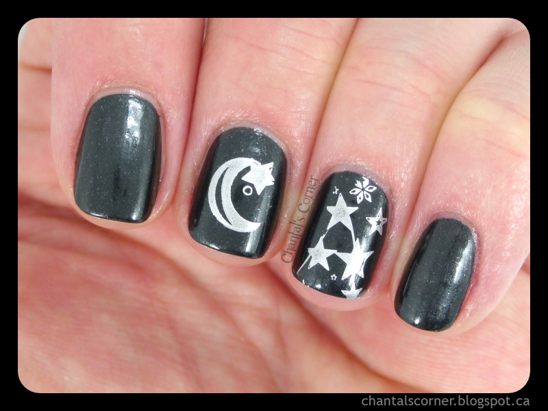 Starry Night Stamping Nail Art