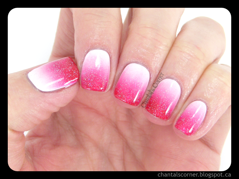 Red Pink White Gradient Nail Art Chantals Corner