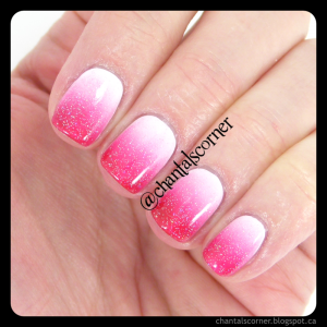 red pink white gradient nail art
