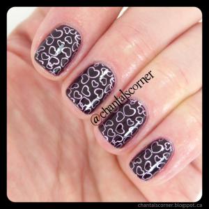 heart nail stamping nail art