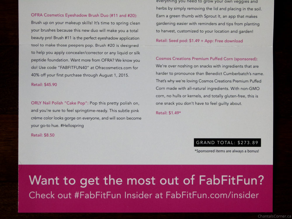 FabFitFun Spring 2015 info card