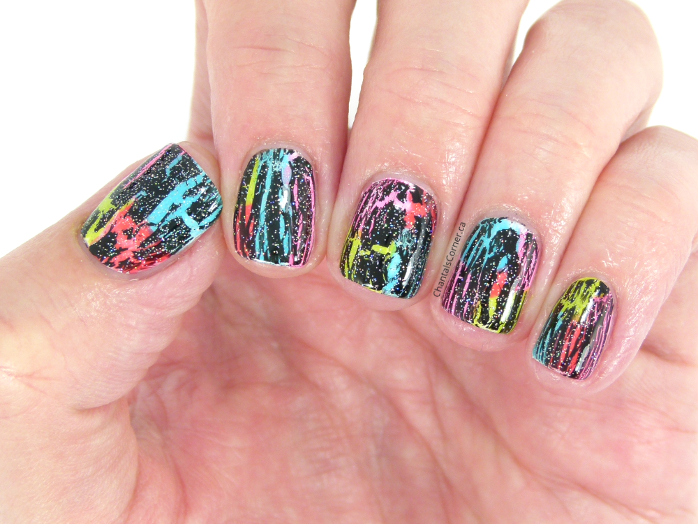 crackled neon nail art