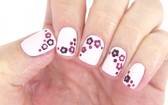 pink dotted flowers nail art