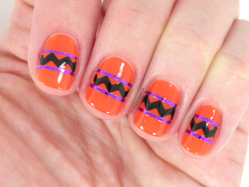 October Nail Art Challenge Days 4 & 5: Abstract/Geo & Orange