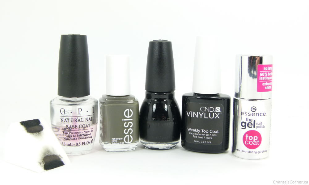 black and grey gradient nail art
