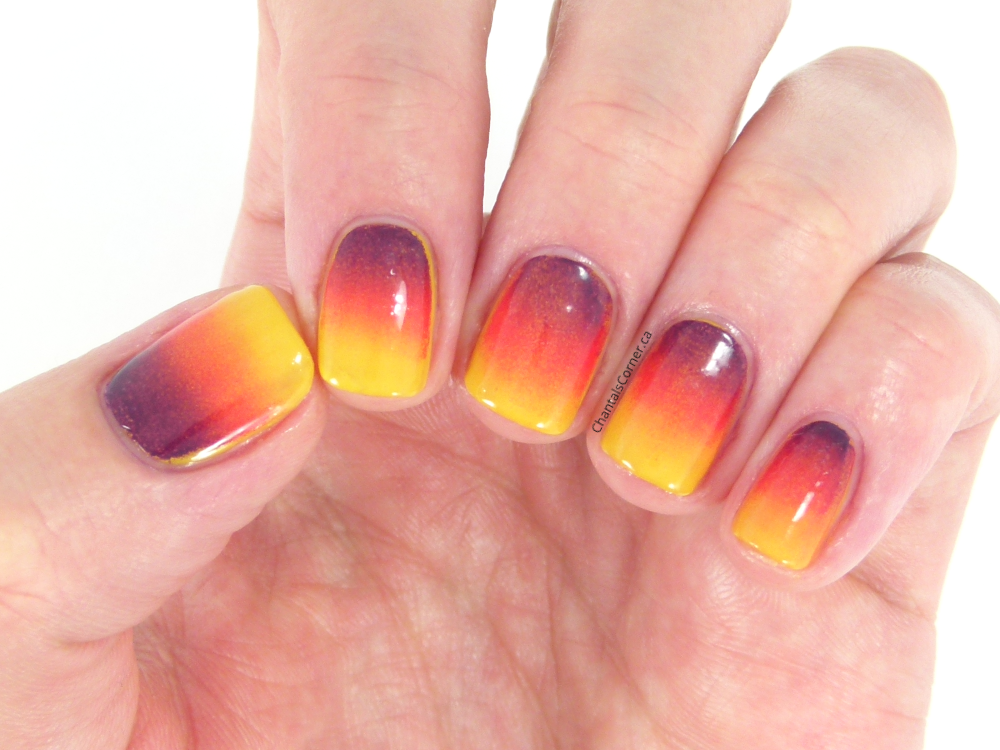 sunset gradient nail art