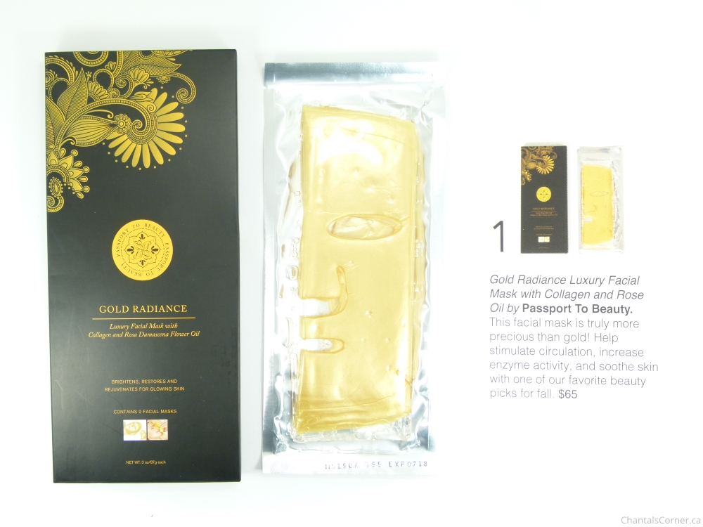 fabfitfun 2015 Fall Edition gold radiance luxury facial mask