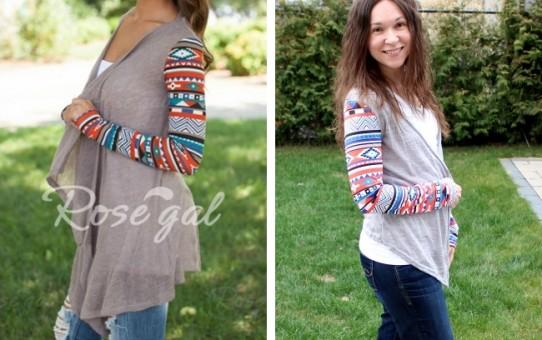 rosegal - Vintage Printed Long Sleeve Irregular Cardigan For Women - comparison