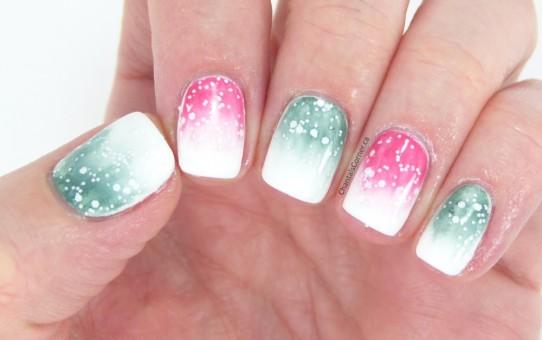 christmas gradient nail art