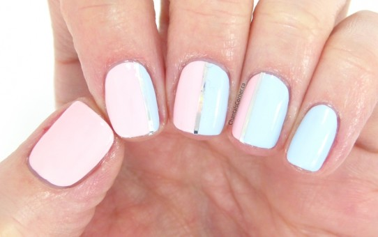 rose quartz and serenity nail art