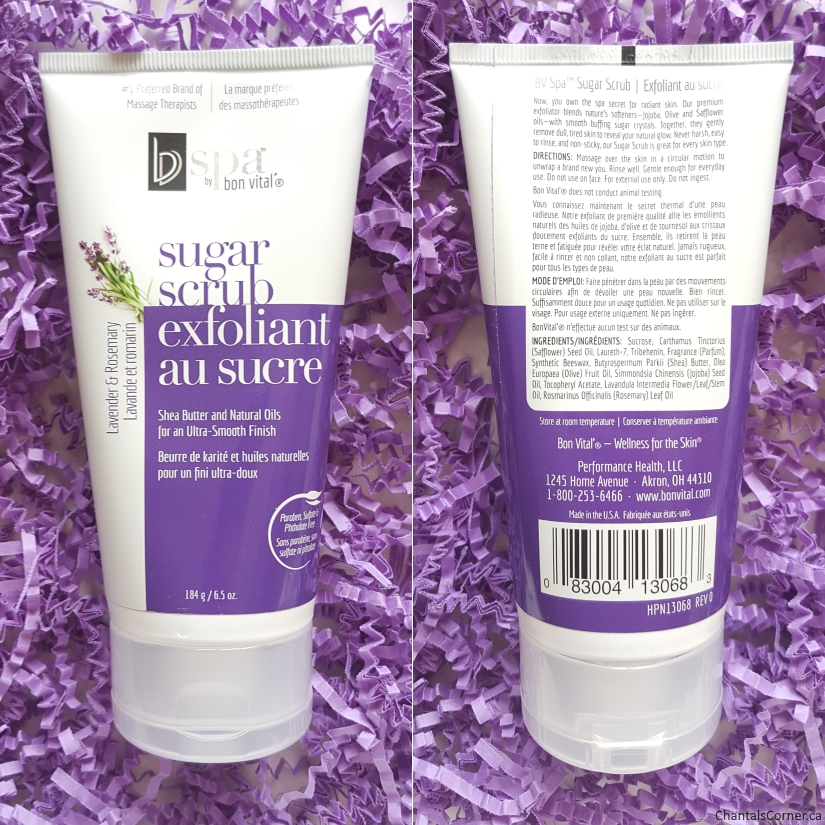 bvspa by bon vital in lavender and rosemary sugar scrub