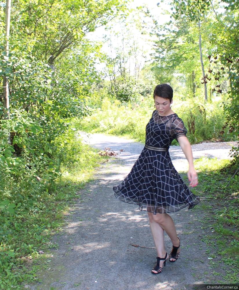 Black Geometric Short Sleeve Midi Dress from StyleWe.com
