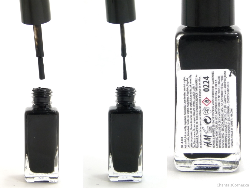 h&m nail polish in black swatches and review