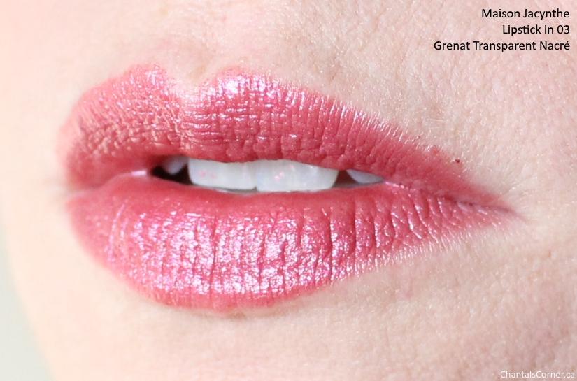 maison jacynthe makeup lipstick 03 grenat transparent nacre