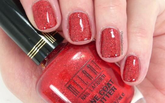 milani red sparkle nail polish