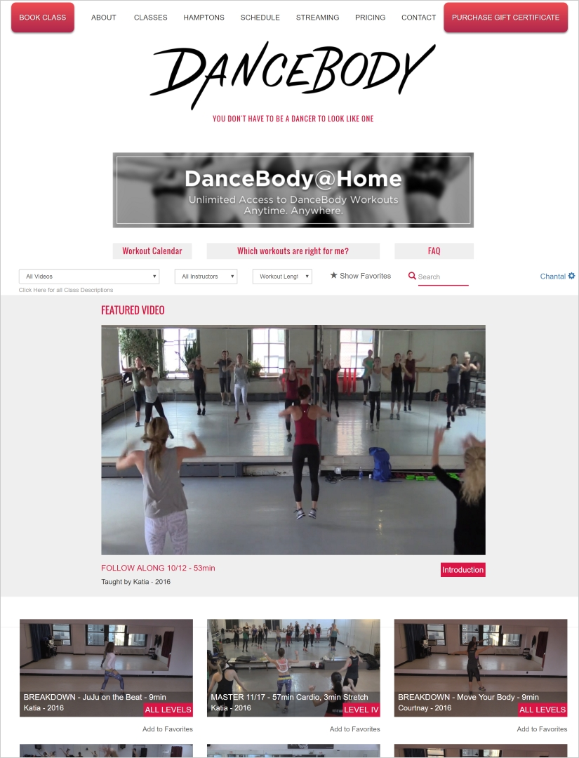 dance body home screen