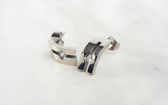 CZ Stainless Steel Stud Earrings BodyJewelleryShop.com