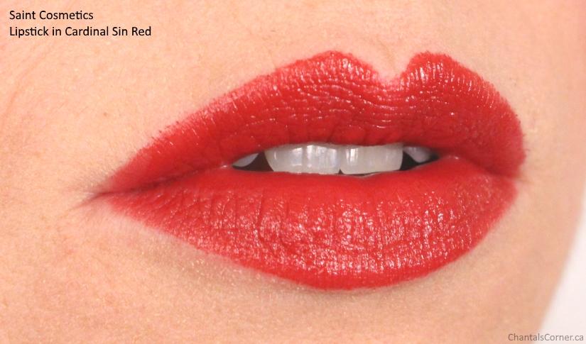 saint cosmetics lipstick cardinal sin red