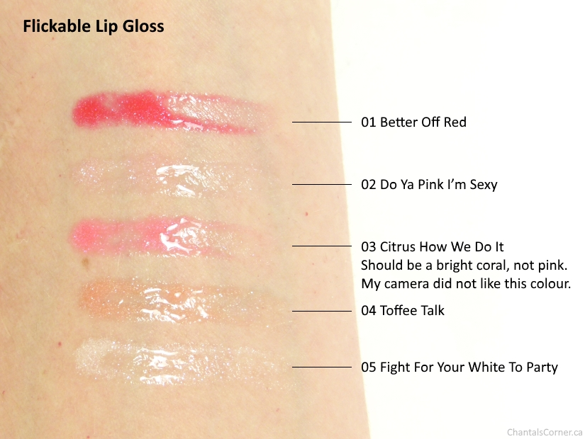 Flickable Lip Gloss swatches