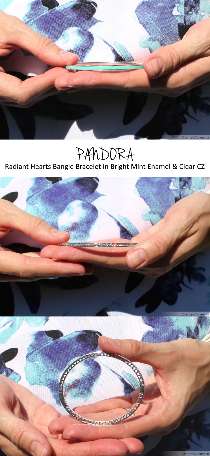 Radiant Hearts of PANDORA Bright Mint Enamel & Clear CZ bangle bracelet