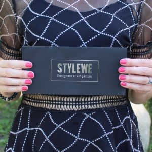 Black Geometric Short Sleeve Midi Dress from StyleWe