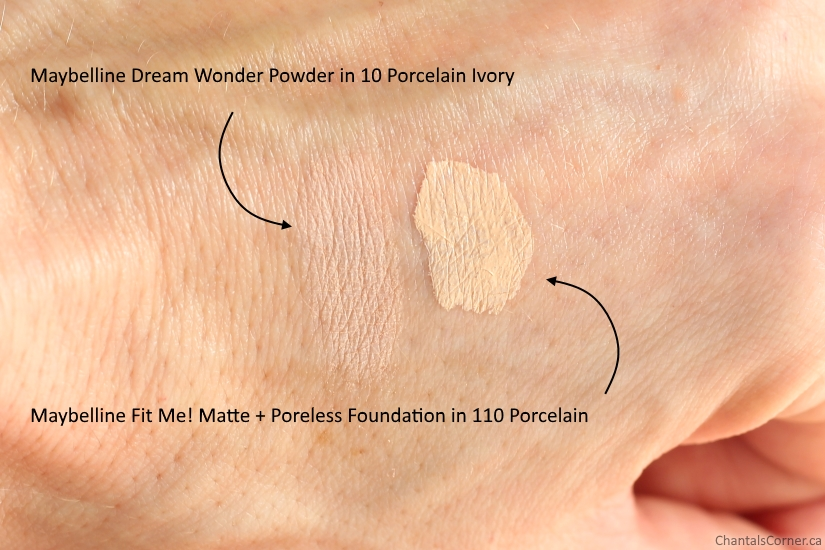 Maybelline Dream Wonder Powder 10 Porcelain Ivory vs Fit Me Matte Poreless Foundation 110 Porcelain