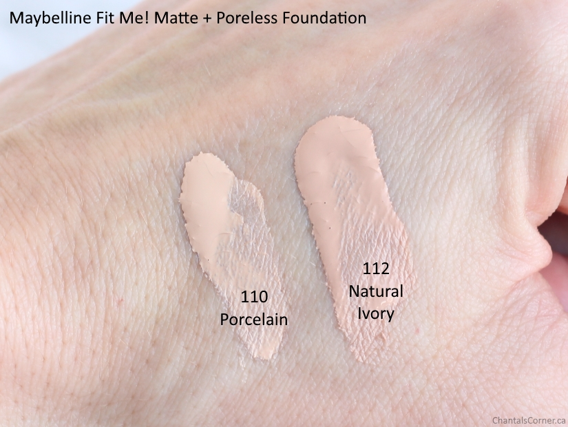 Maybelline Fit Me! Matte + Poreless Foundation 110 Porcelain vs 112 Natural Ivory