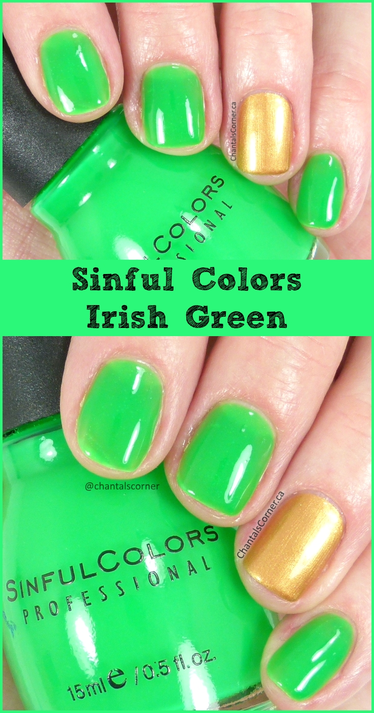 Sinful Colors nail polish in Irish Green - swatches and review