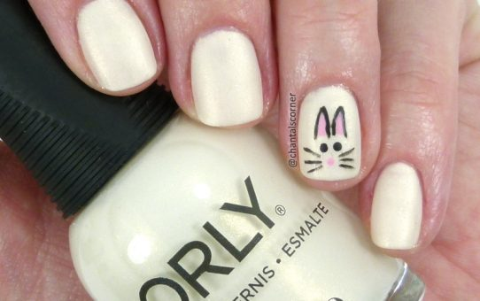 Rabbit nail art with Orly nail polish in Frosting