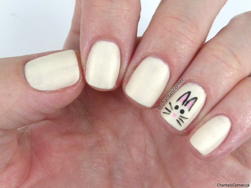 Easter Bunny nail art with Orly nail polish in Frosting