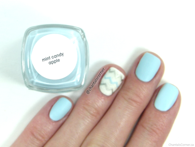 Essie Mint Candy Apple Nail Polish with Chevron Nail Art