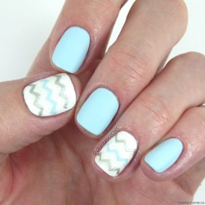 Essie Mint Candy Apple Nail Polish with Chevron Nail Art
