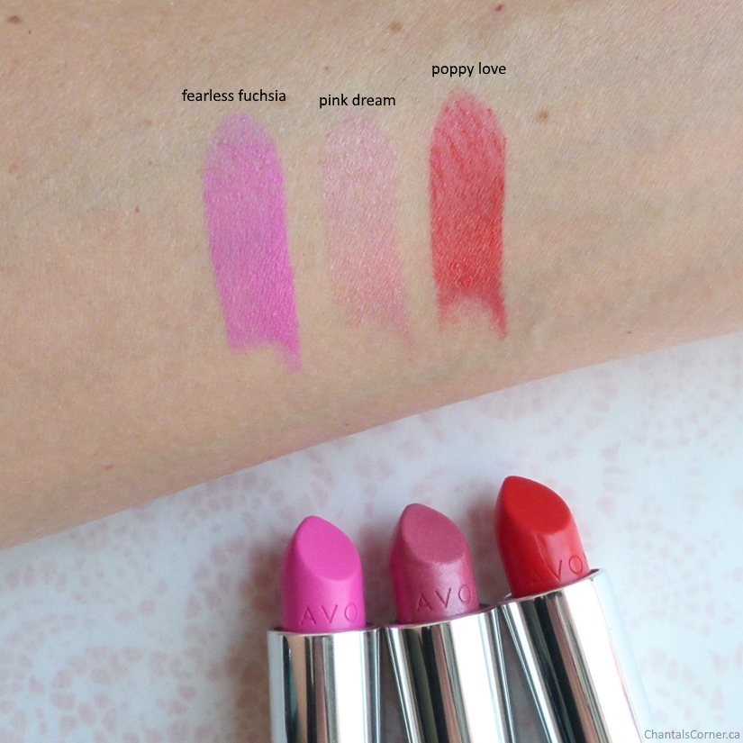 Avon True Color Lipsticks fearless fuchsia pink dream poppy love