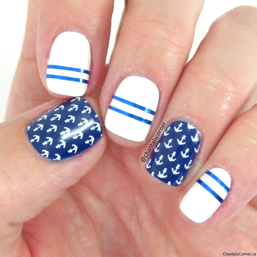 nautical nail art with KADS stamping plate