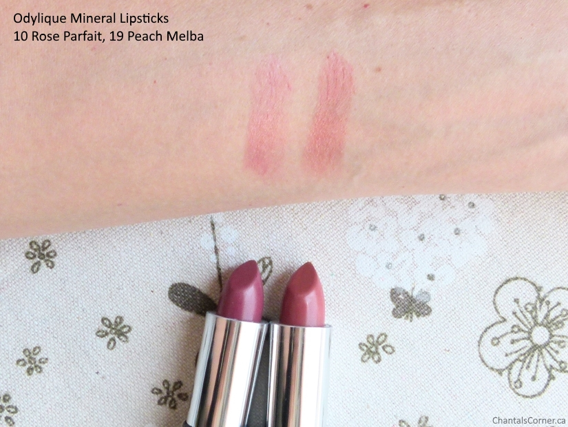 Odyliqye all natural mineral lipsticks in 10 Rose Parfait and 19 Peach Melba