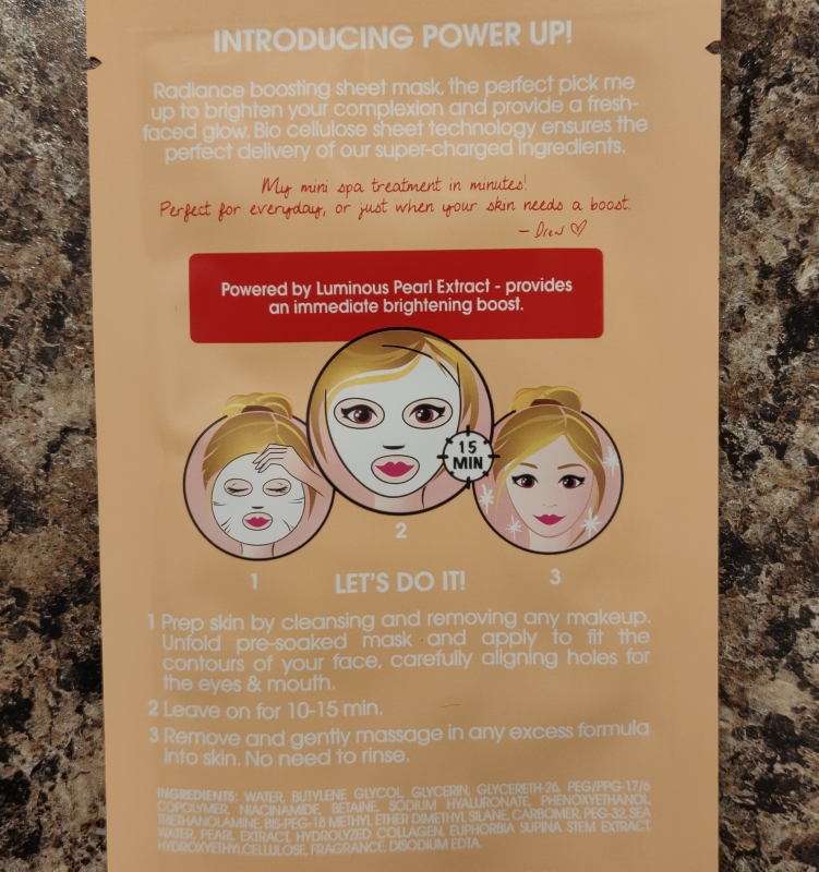 FLOWER Beauty Power Up! Sheet Mask Radiance Boosting ingredients