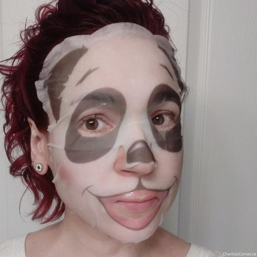 SUGU Printed Panda Sheet Mask selfie