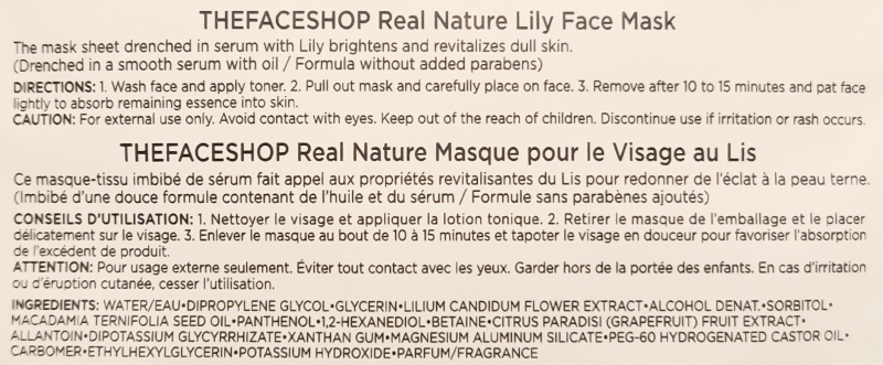 THEFACESHOP Real Nature Mask Sheet in Lily ingredients