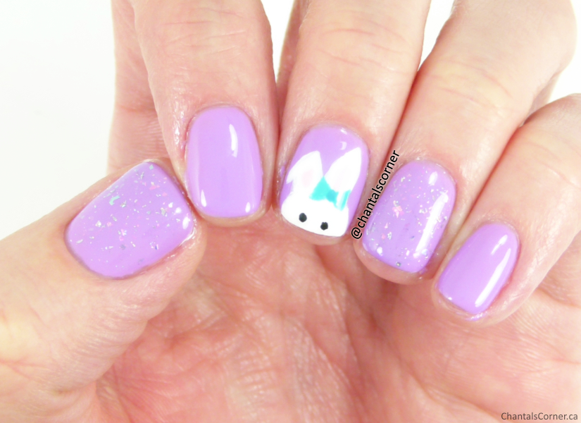 Easter nail art with Candy Coat gel nail polish in purple 526 and flakies 1063