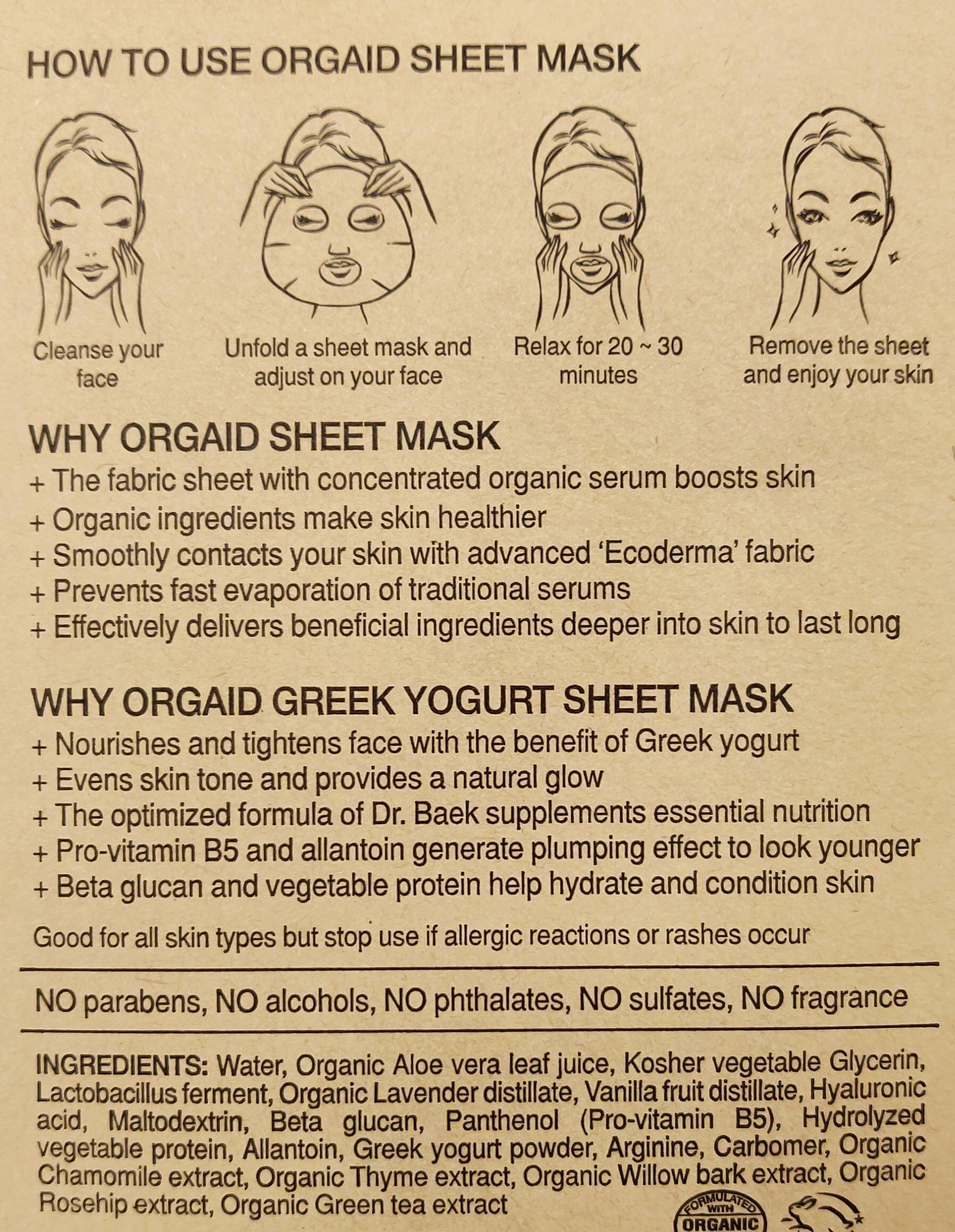 Orgaid Greek Yogurt Nourishing Organic Sheet Mask ingredients