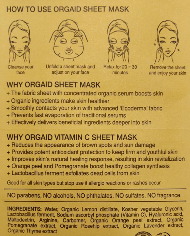 Orgaid Vitamin C Revitalizing Organic Sheet Mask ingredients