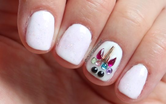 rhinestone unicorn nail art