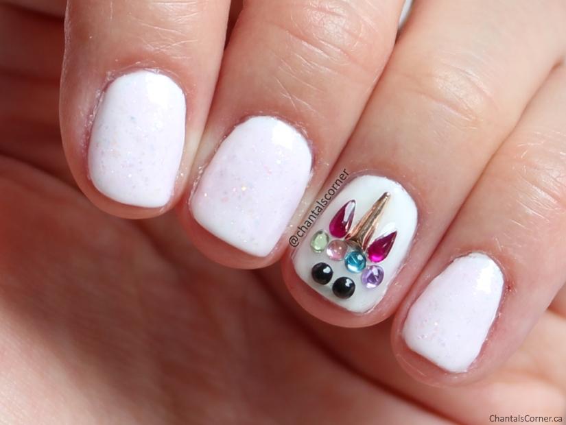 rhinestone unicorn nail art