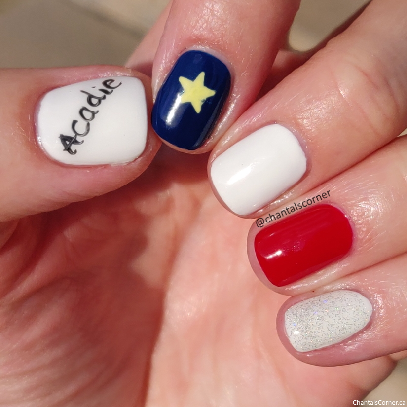 Acadie drapeau acadien nail art
