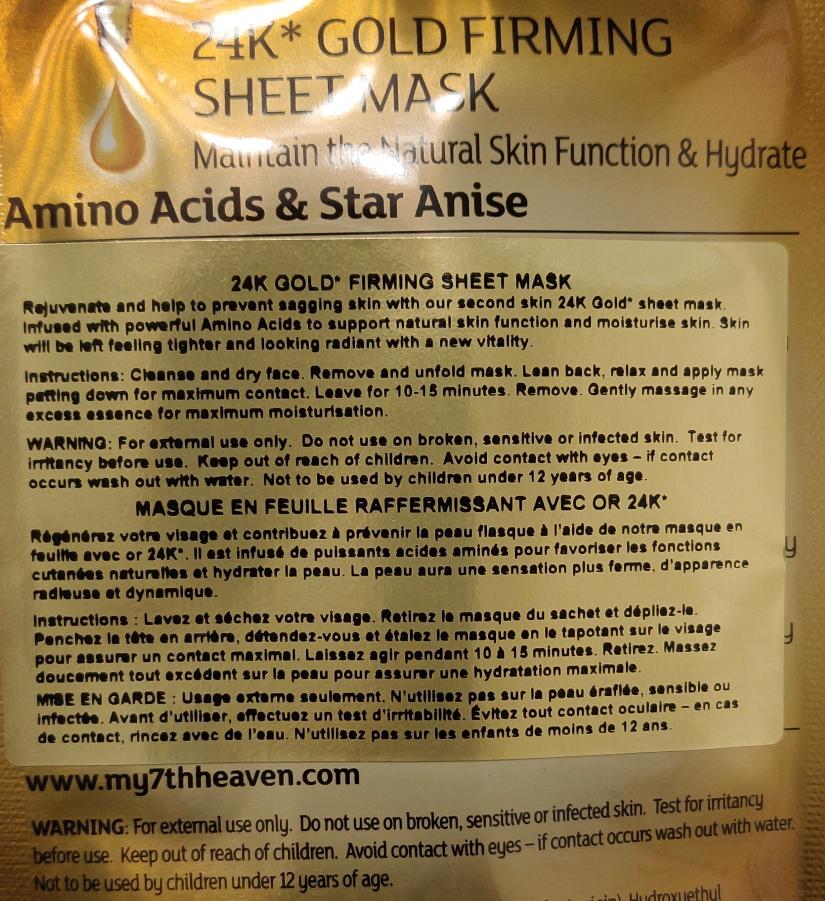 7th heaven renew you 24K Gold Firming Sheet Mask instructions