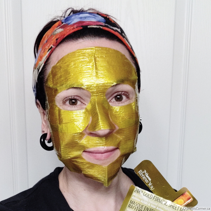 7th heaven renew you 24K Gold Firming Sheet Mask selfie
